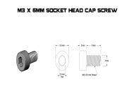 M3 X 6MM Socket Head Cap Screw Drawing